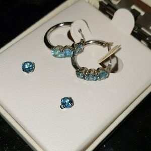 10K White Gold Earrings Blue Topaz (2 pairs) NIB